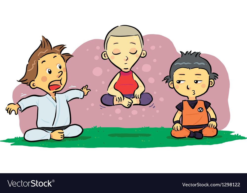 Children Meditation Vector Image