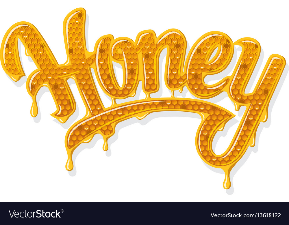 Honey shiny lettering vector image