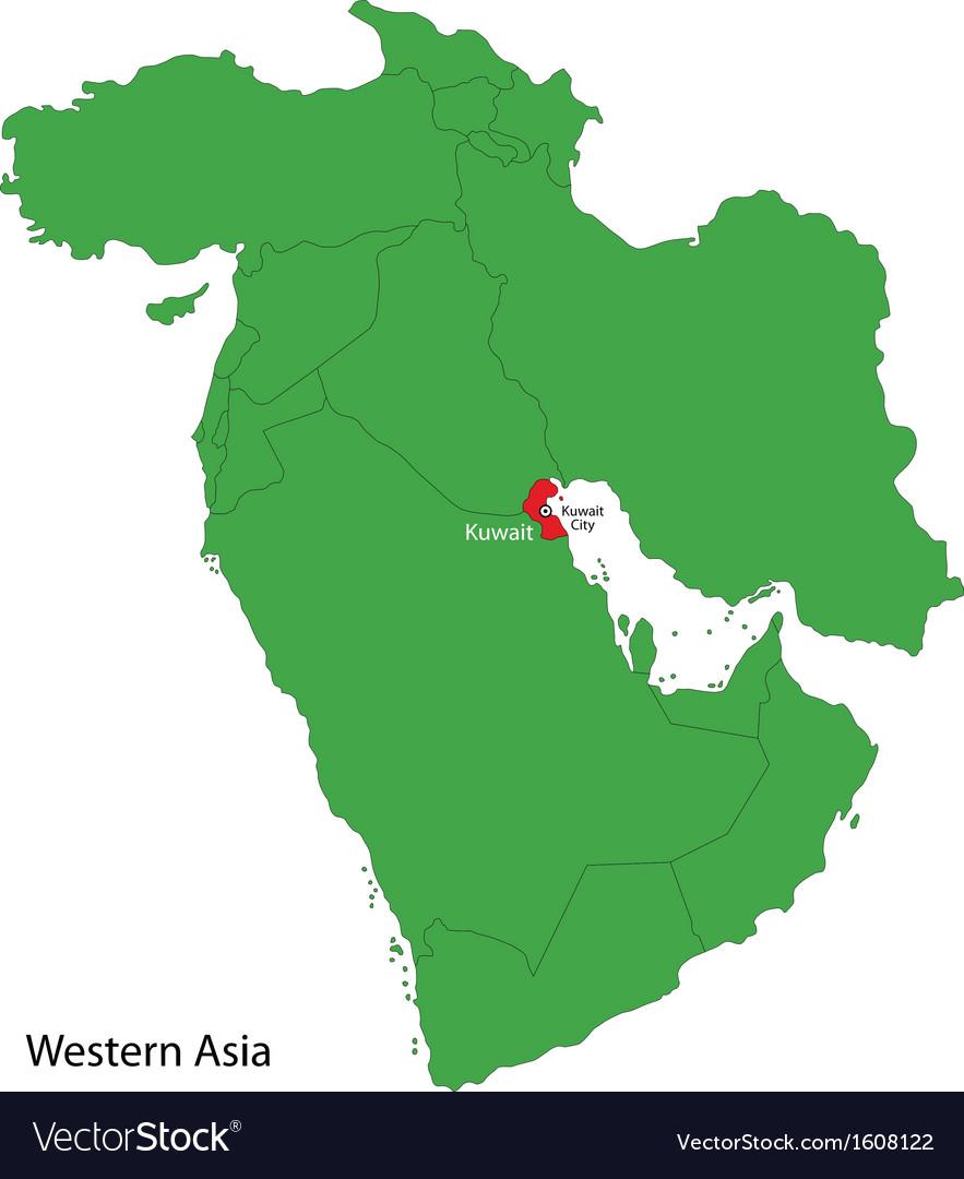 Kuwait map Royalty Free Vector Image VectorStock