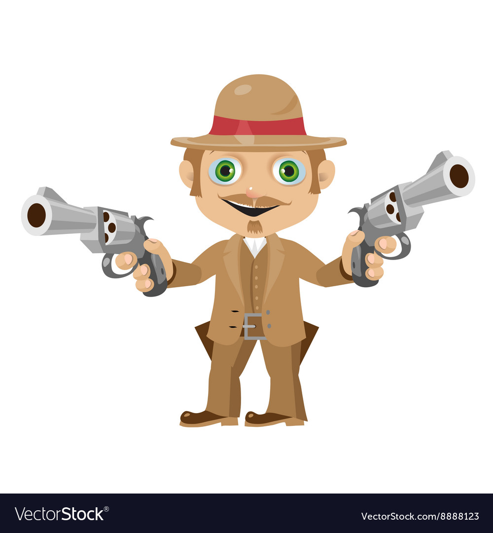 Elegant man with guns character in vintage style vector image