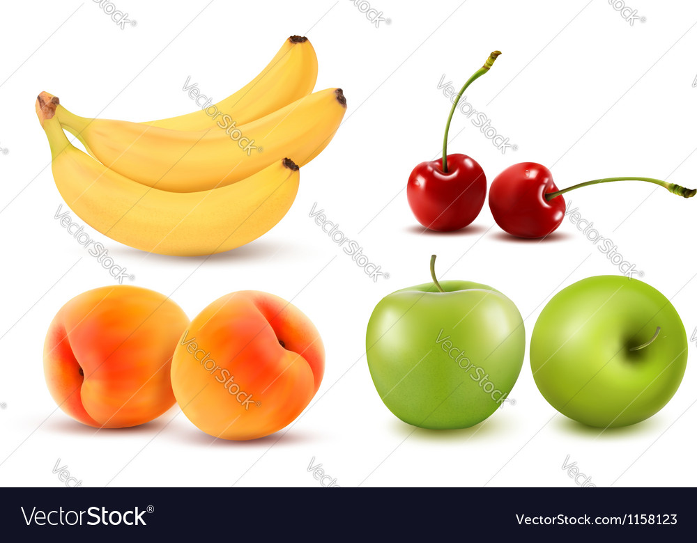Group of fresh colorful fruit vector image