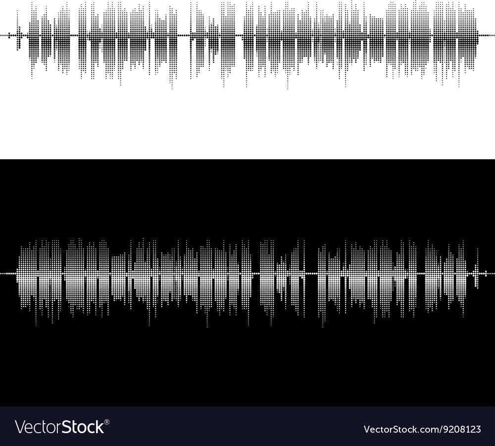 Halftone square elements sound waves vector image