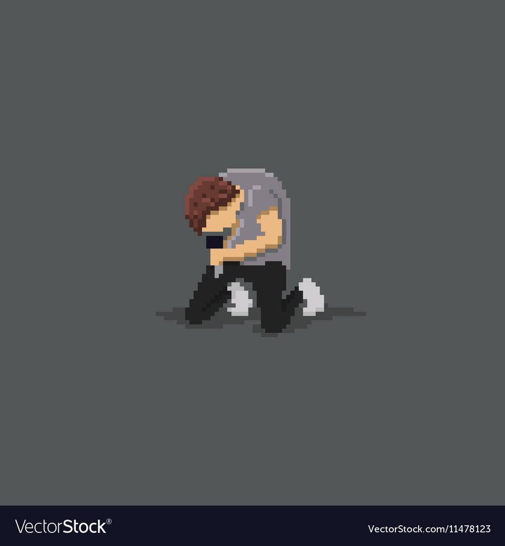 Pixel Hardcore Singer vector image