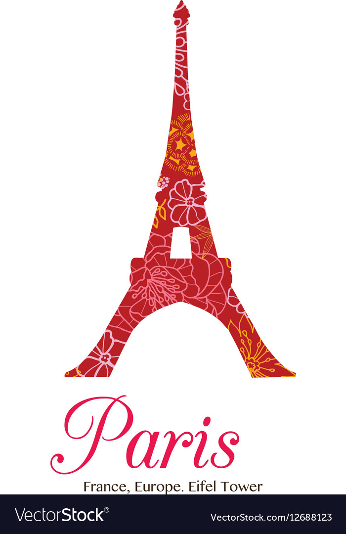 Red Floral Eifel Tower Paris On St vector image