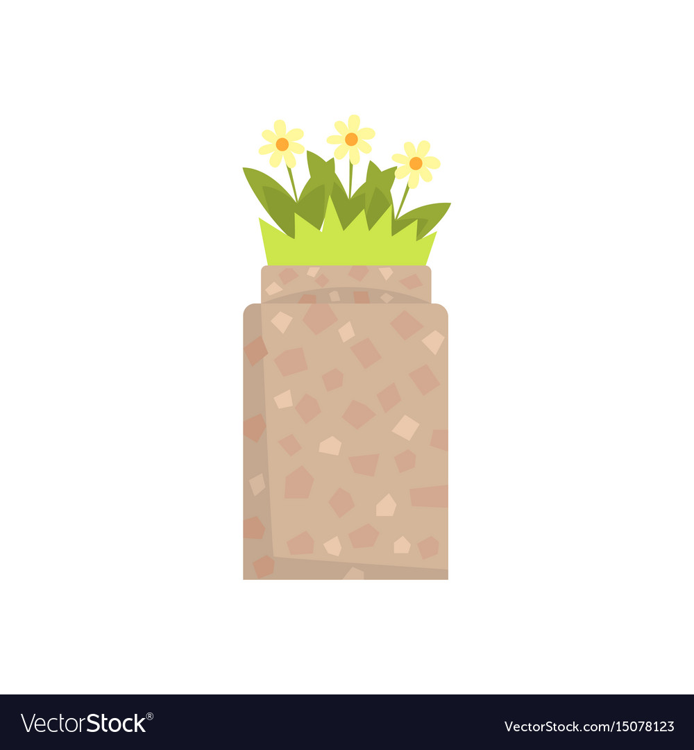 Stone flowerbed with flowers and green grass vector image