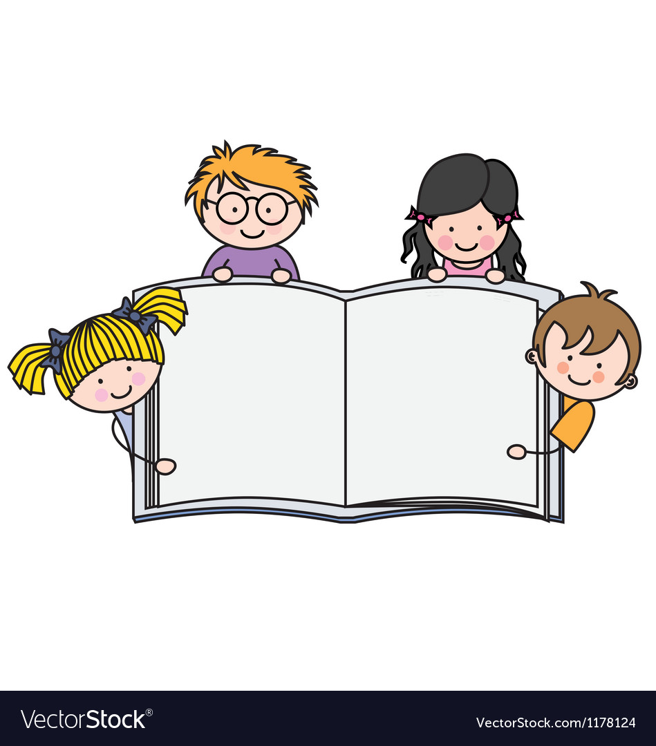 Children with a book with blank pages vector image