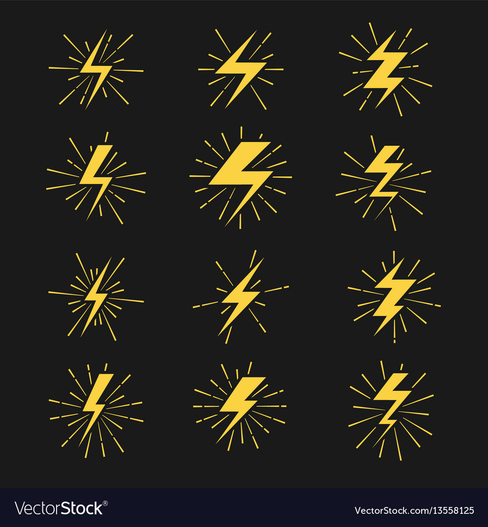 Lightning bolts icons set vector image