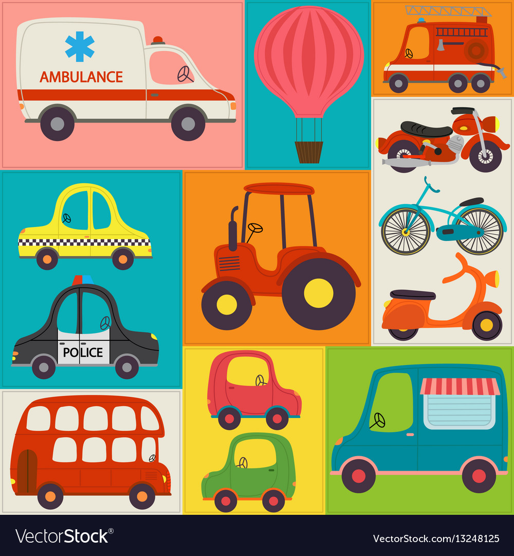 Seamless pattern with fun transports vector image