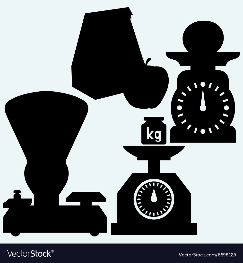 Weight scale weight apple and Paper bag vector image