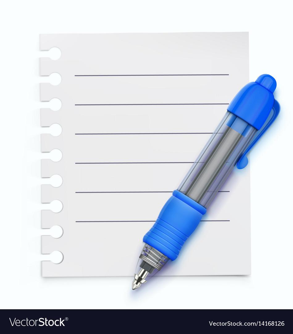 Blue ballpoint pen vector image