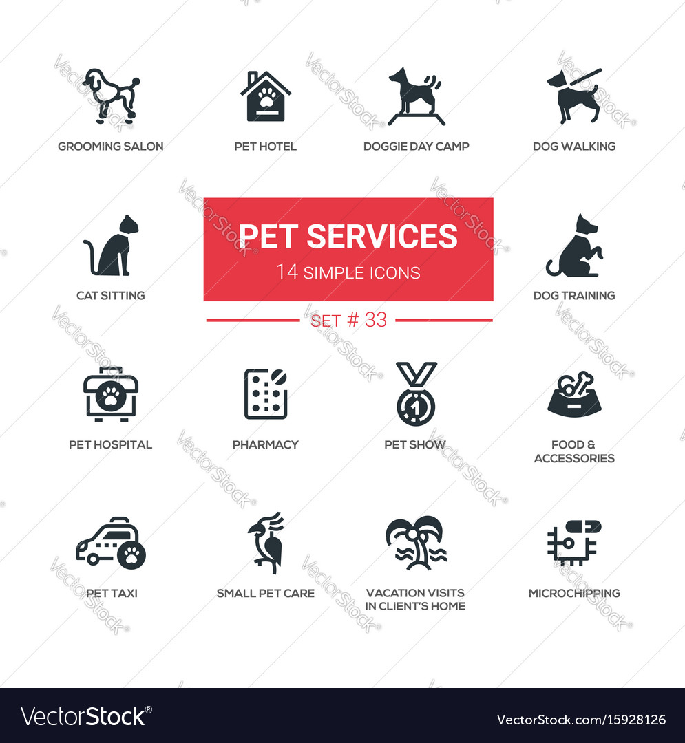 Pet services - modern simple thin line design vector image