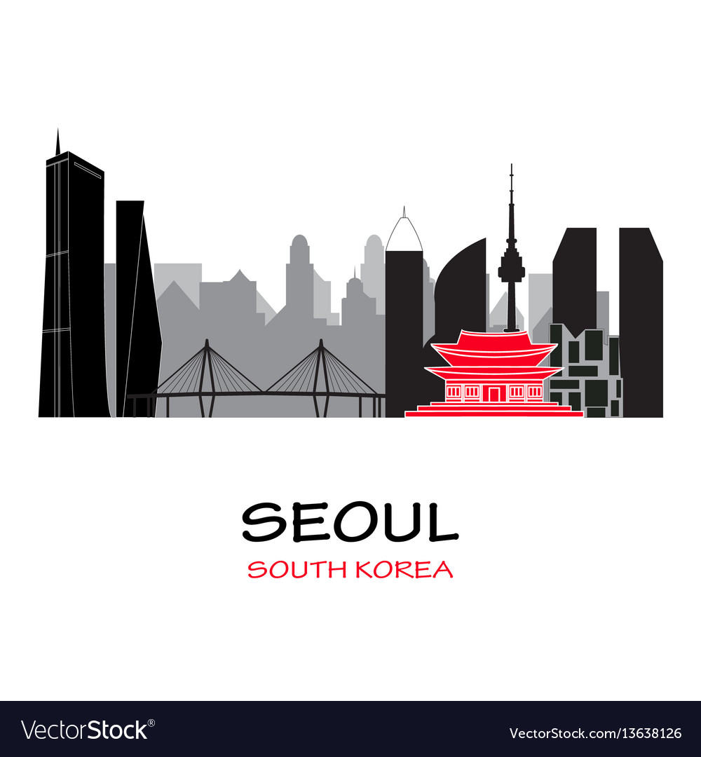 Seoul south korea skyline vector image