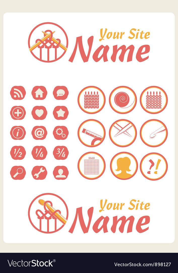 Retro Vintage Knit Web icons vector image
