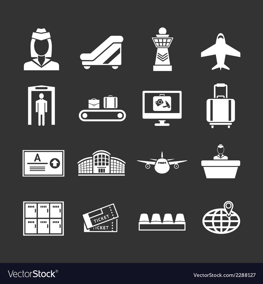 Set icons of airport vector image