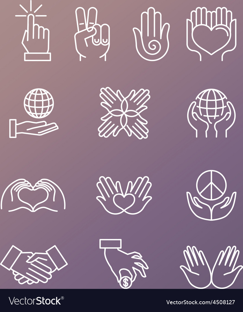 Set of linear hand icons and gestures vector image