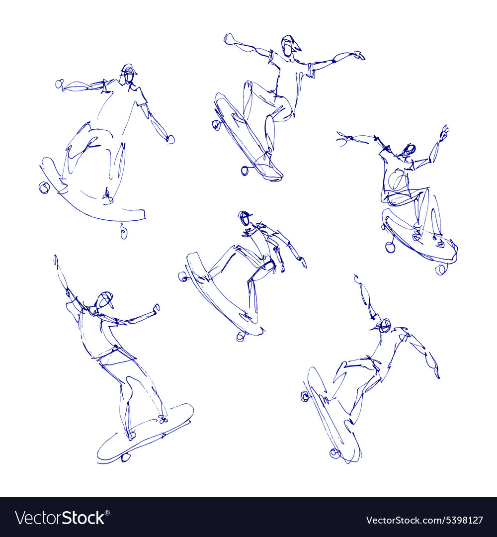 Skaters men set vector image