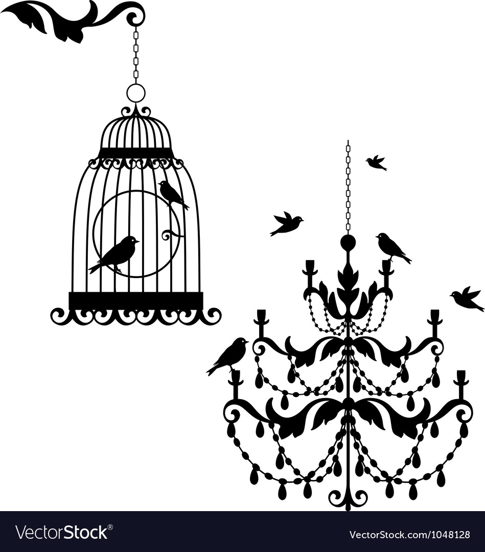 Birdcage and chandelier vector image