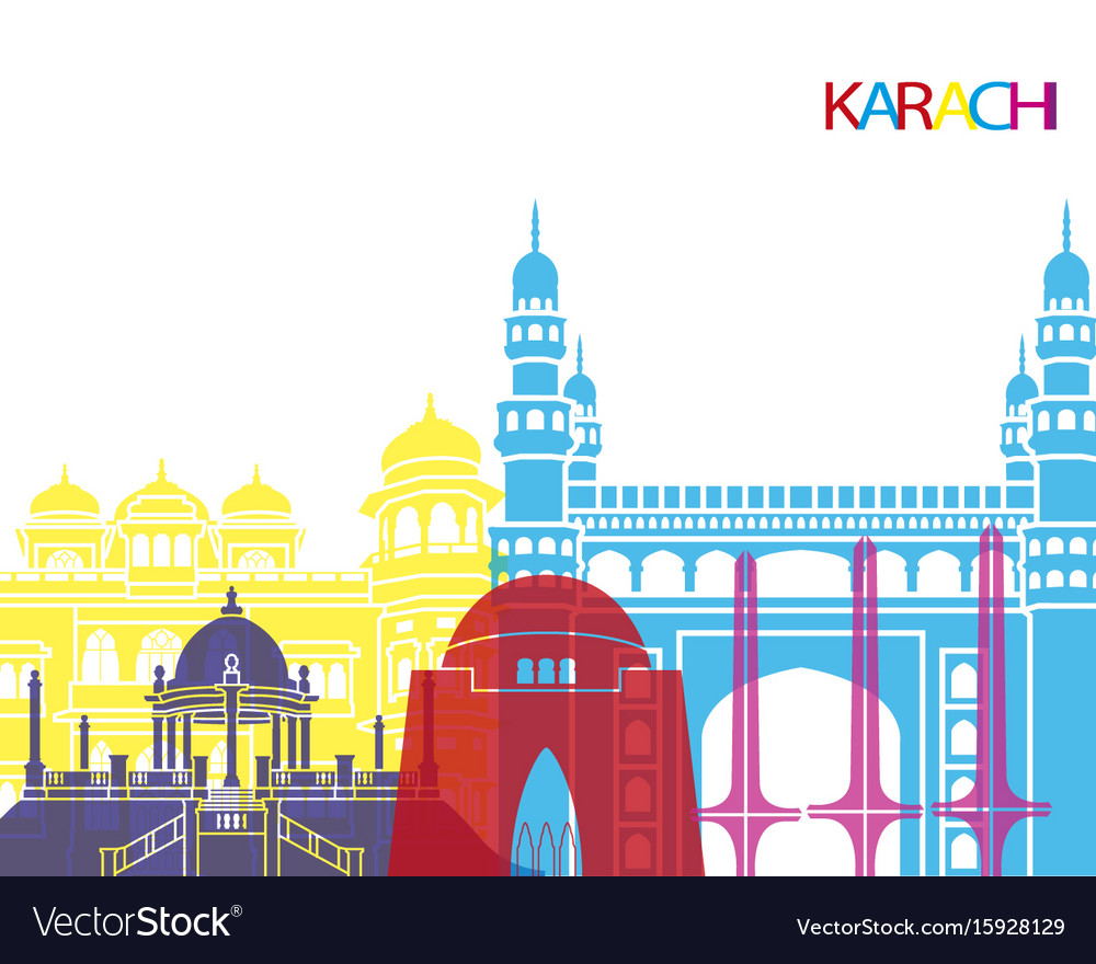 Karachi skyline pop vector image