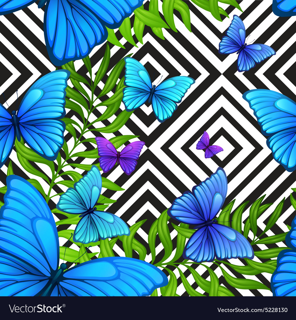 Palm leaves tropical pattern with blue vector image