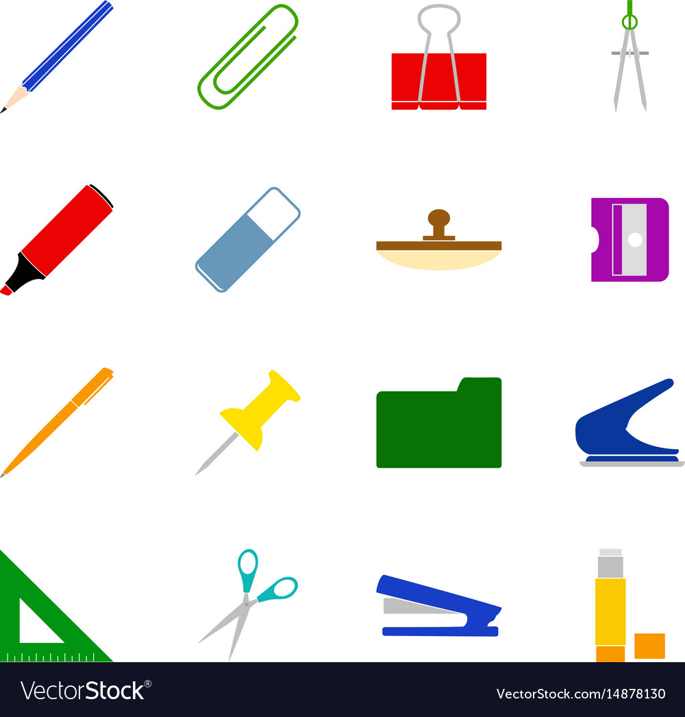Set of stationery icons vector image