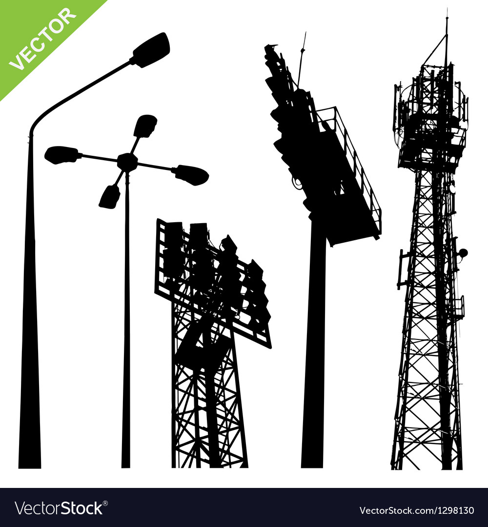 Silhouette street lamp and sport light stadium vector image