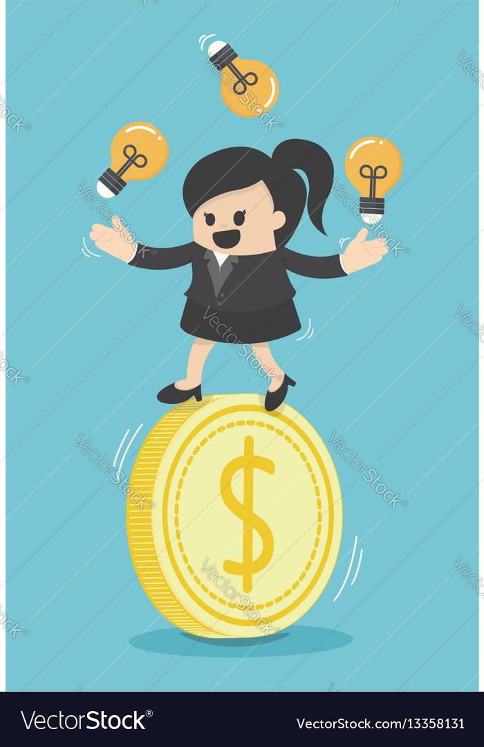 Concept business woman play acrobatic bulbs on vector image