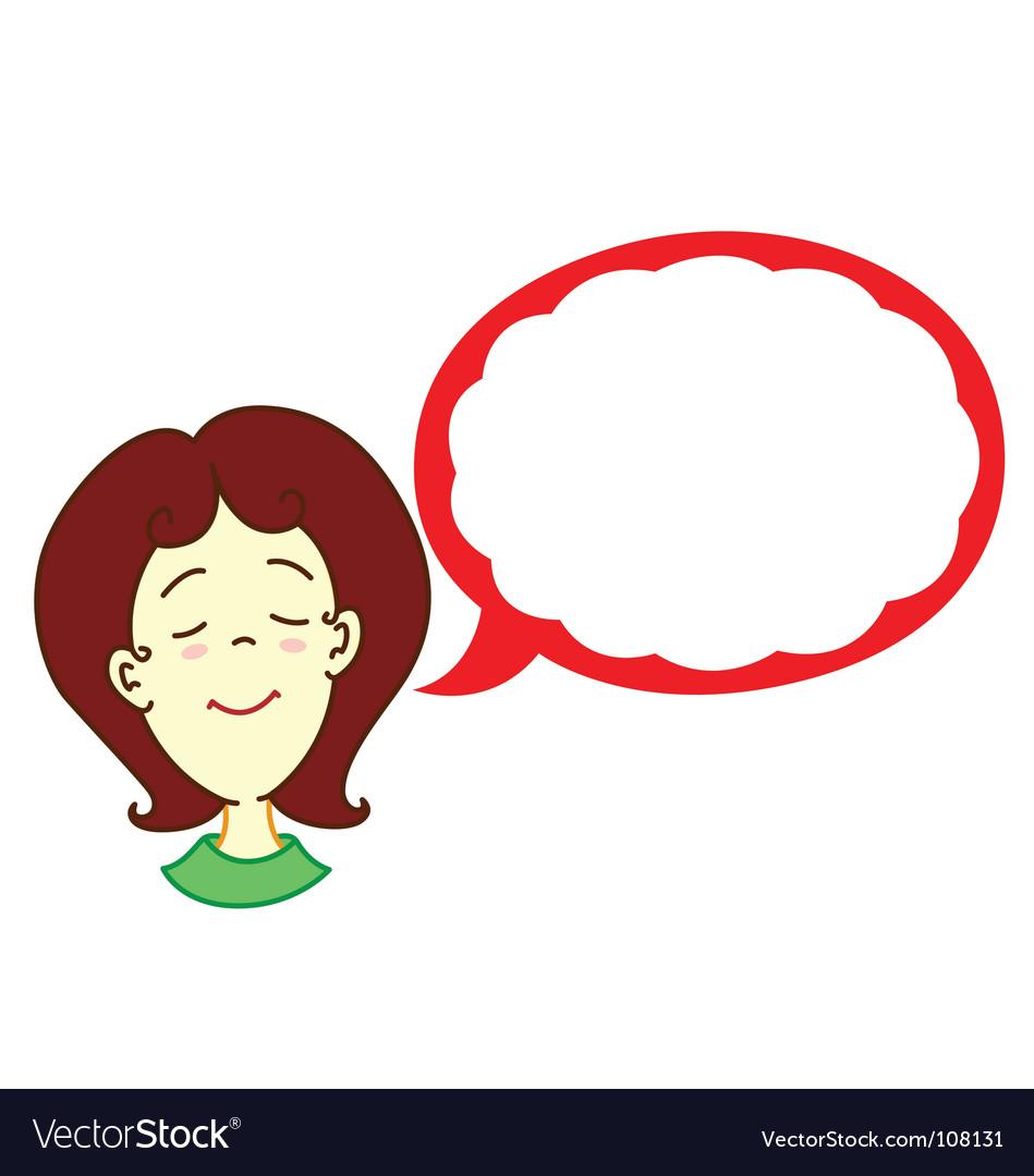 Girl with dialog balloon vector image