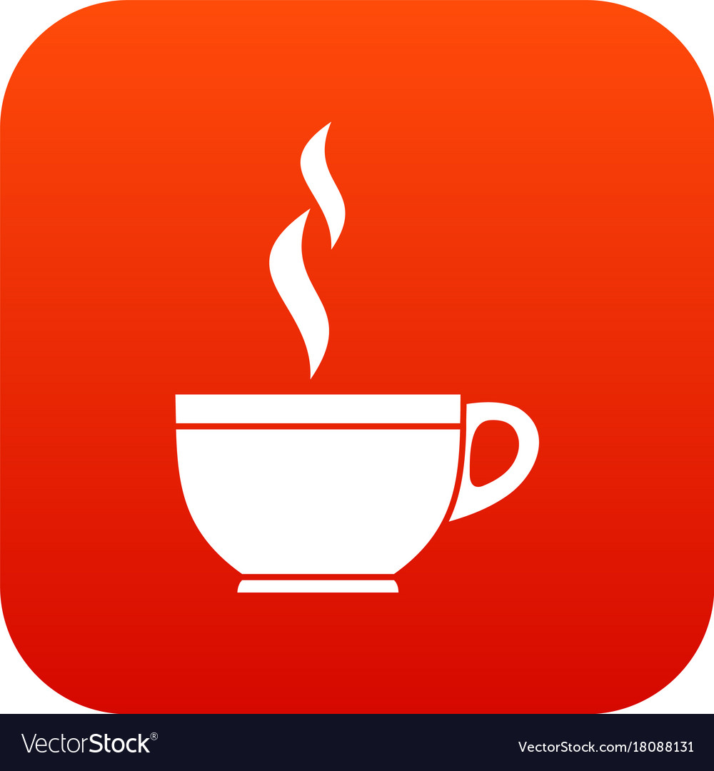Glass cup of tea icon digital red vector image