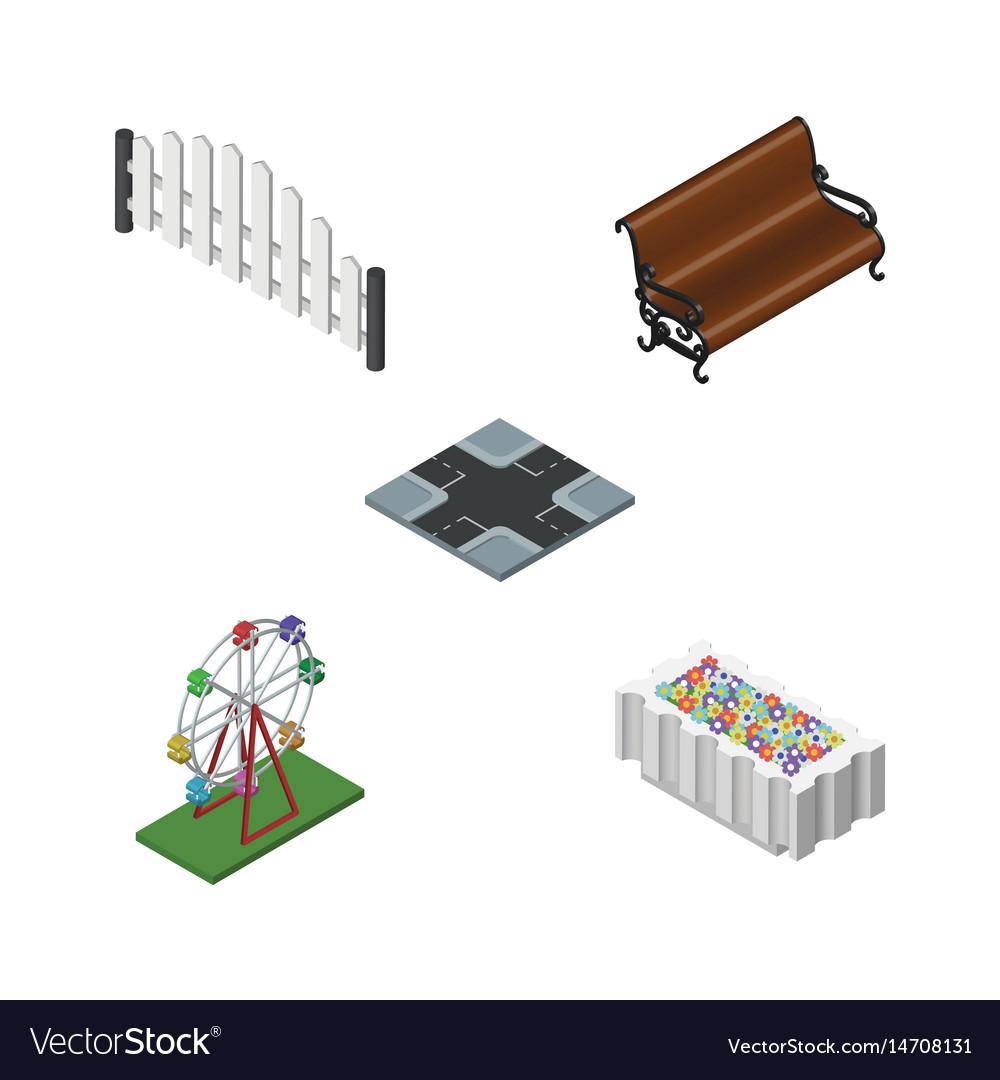 Isometric architecture set of sitting recreation vector image