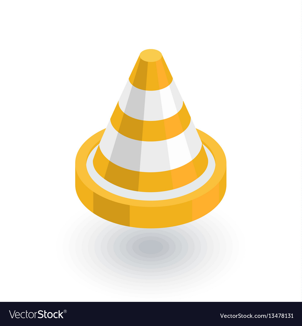 Traffic cone isometric flat icon 3d vector image