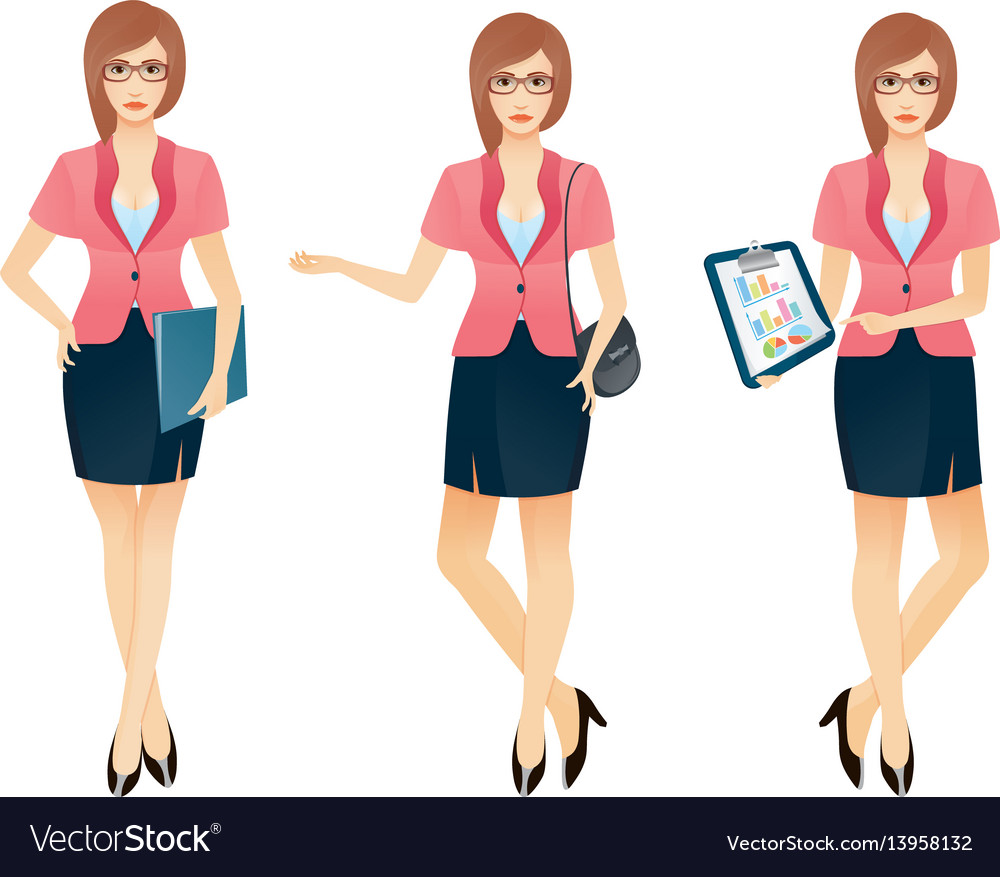 Cartoon sexy young business woman or secretary in vector image