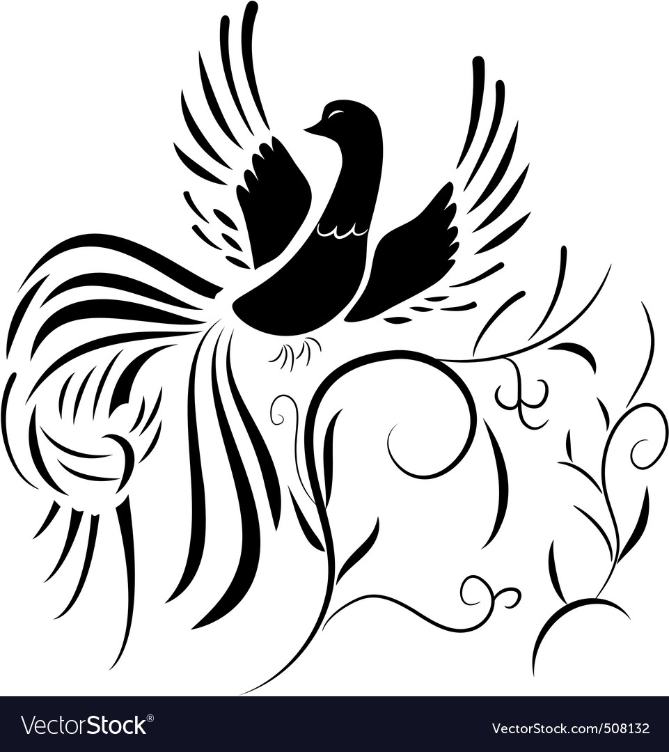 Silhouette of fantasy bird with abstract plants vector image