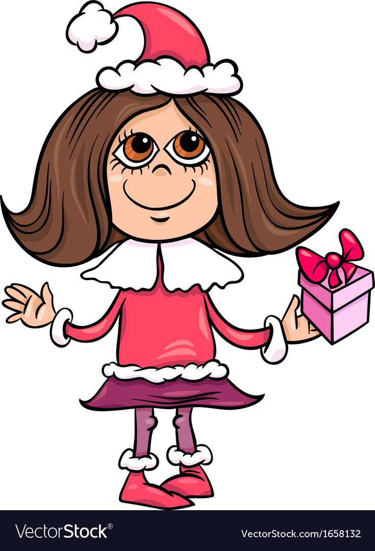 Snowflake or santa girl cartoon vector image