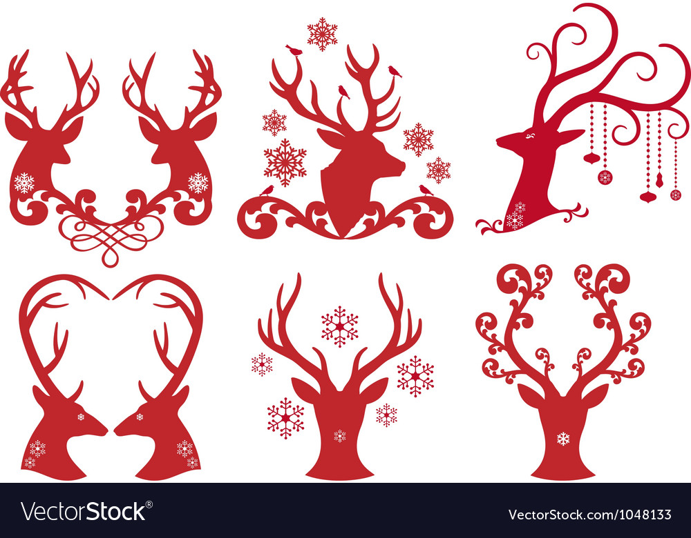 Christmas deer stag heads vector image
