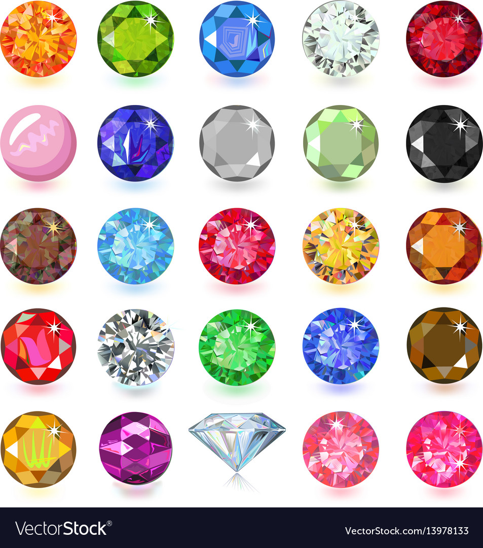 Colored gems set vector image