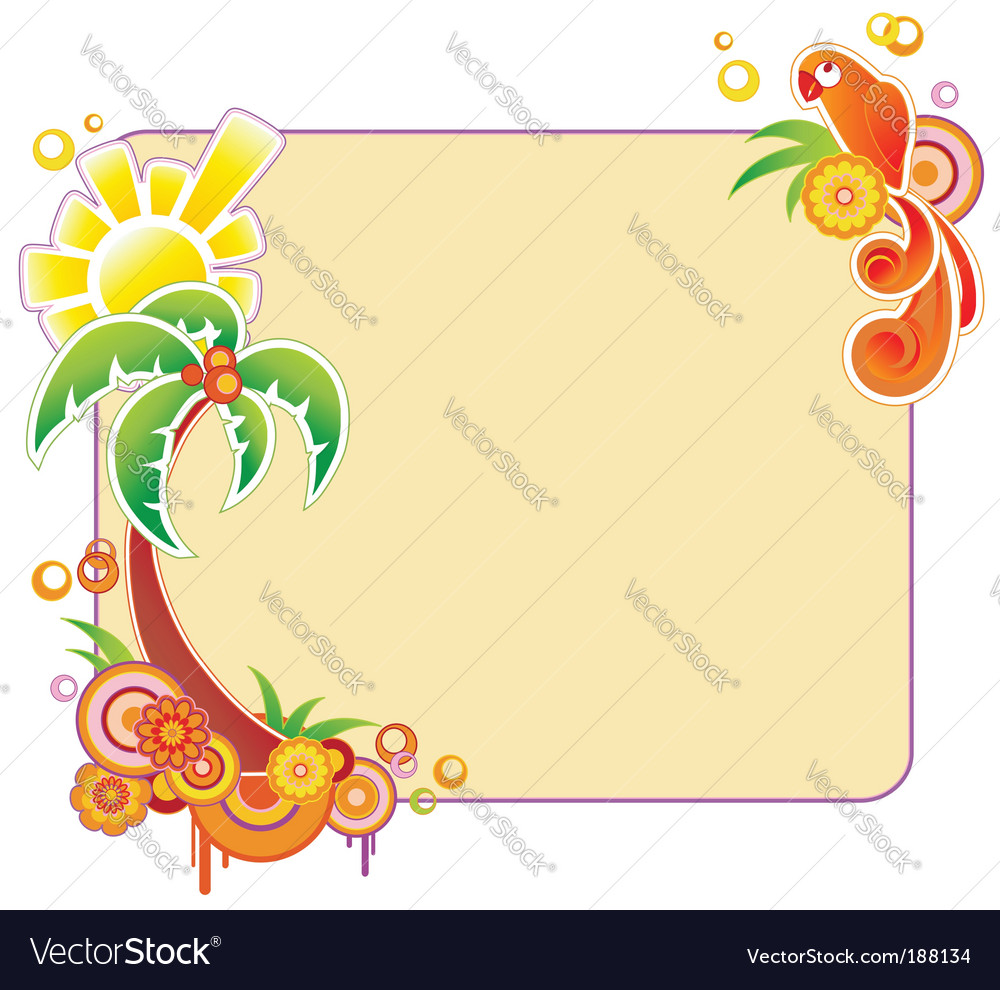 Colored banner with palm vector image