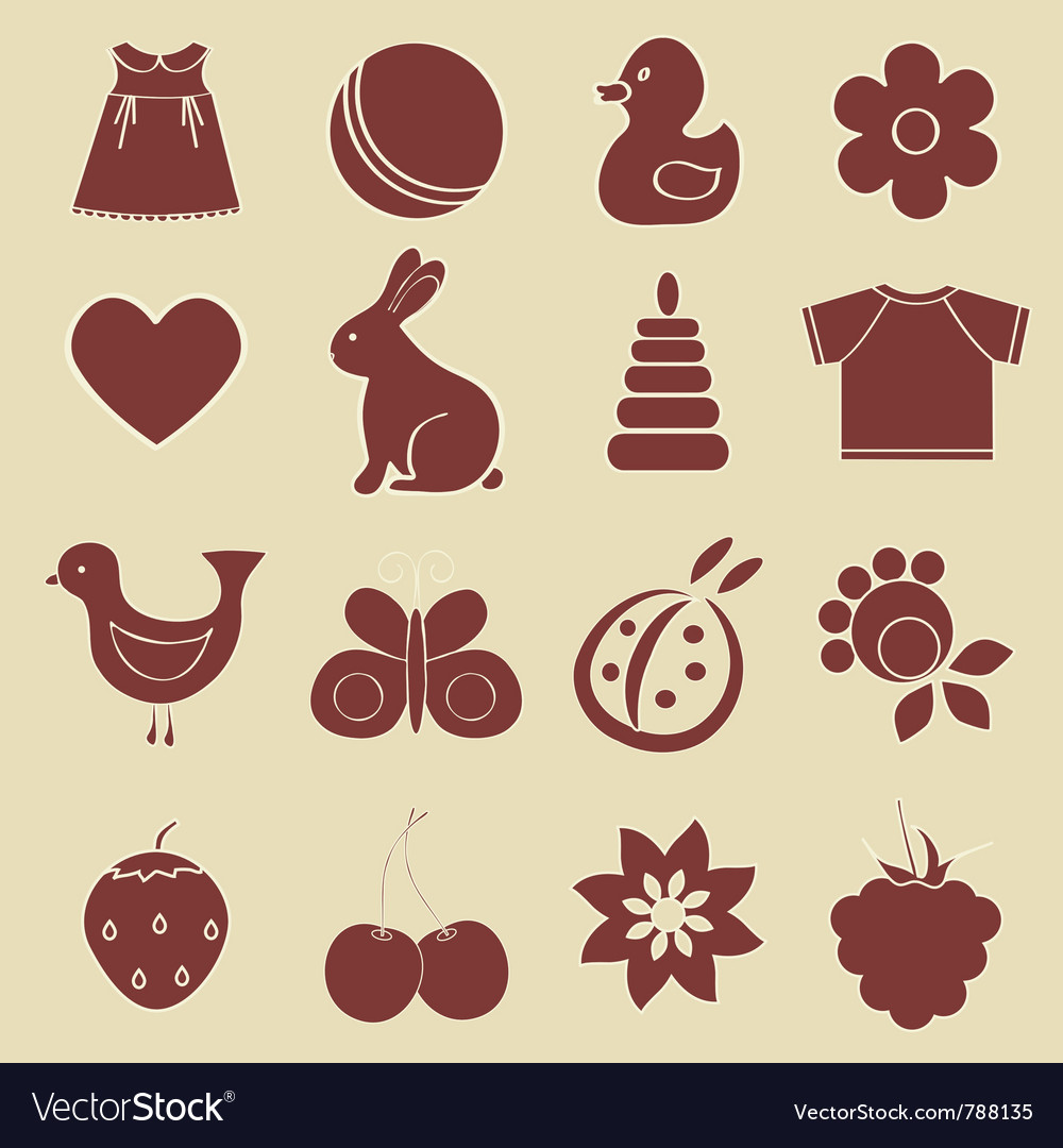 Baby objects set vector image