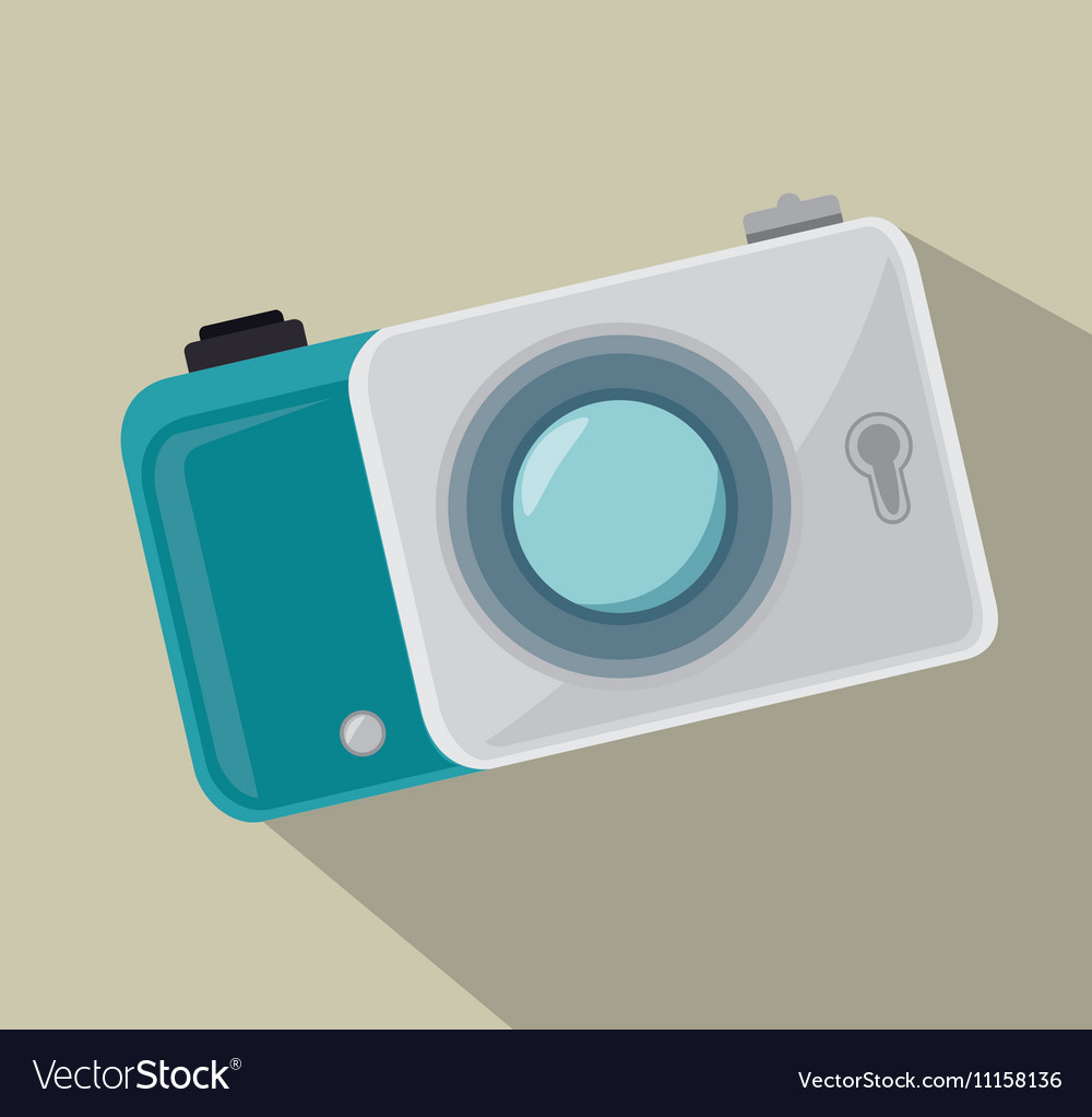 Digital white photo camera and shadow design vector image