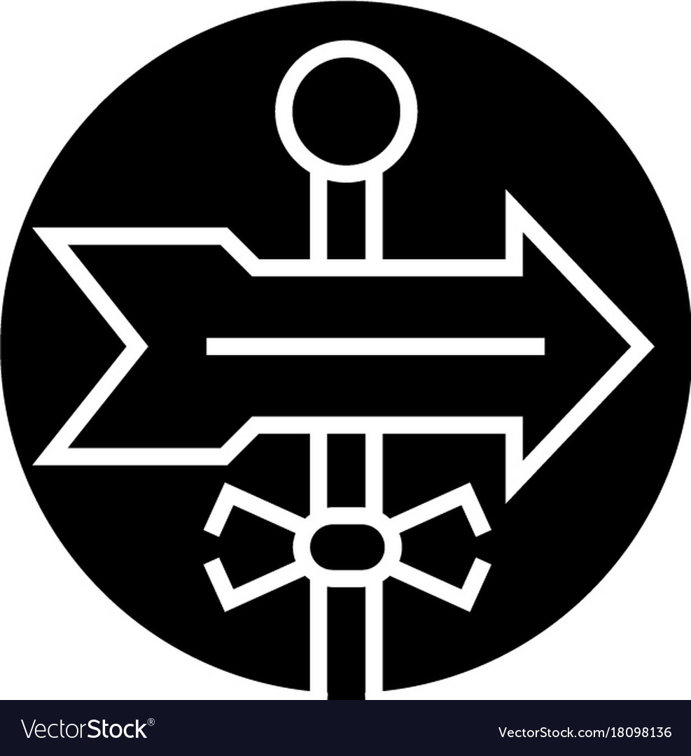 Direction label icon black vector image