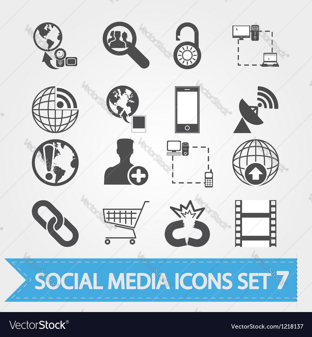 Social media icons set 7 vector image
