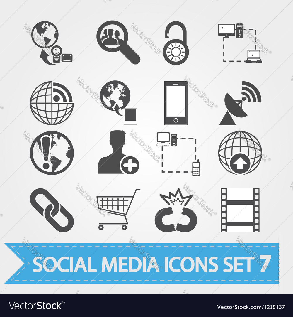 Social media icons set 7 vector image