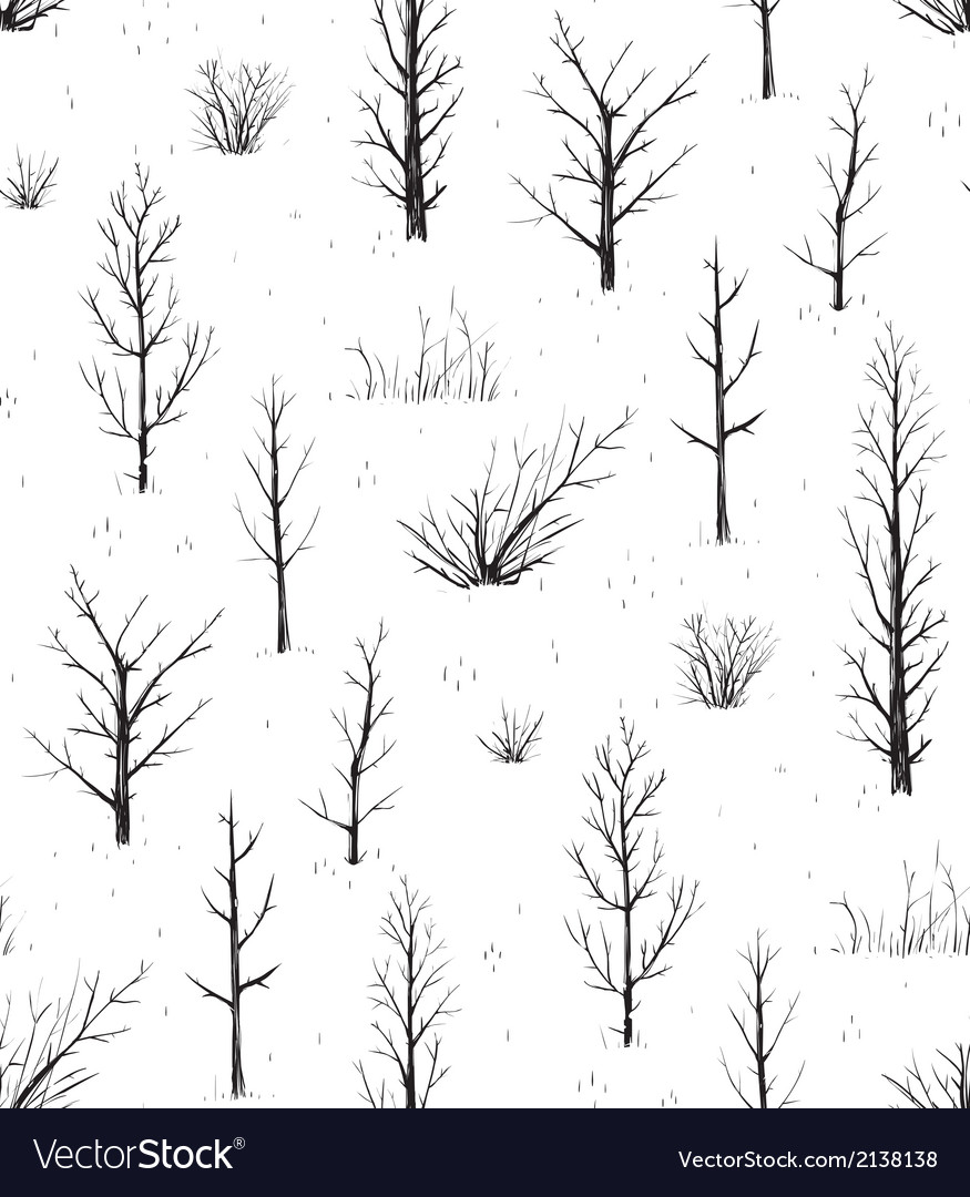 Scratchy Trees Black Silhouettes Seamless Pattern vector image