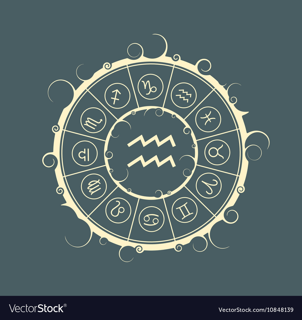 Astrology symbols in circle water bearer sign vector image biocorpaavc Choice Image