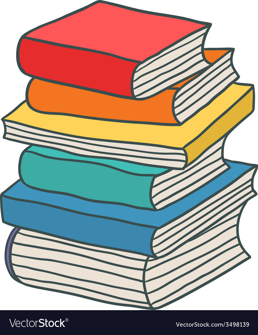 Cartoon hand drawn stack of books vector image