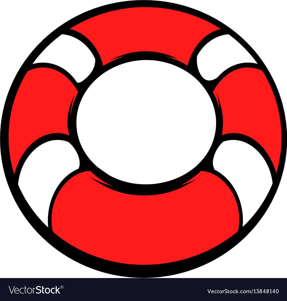 Red lifebuoy icon icon cartoon vector image