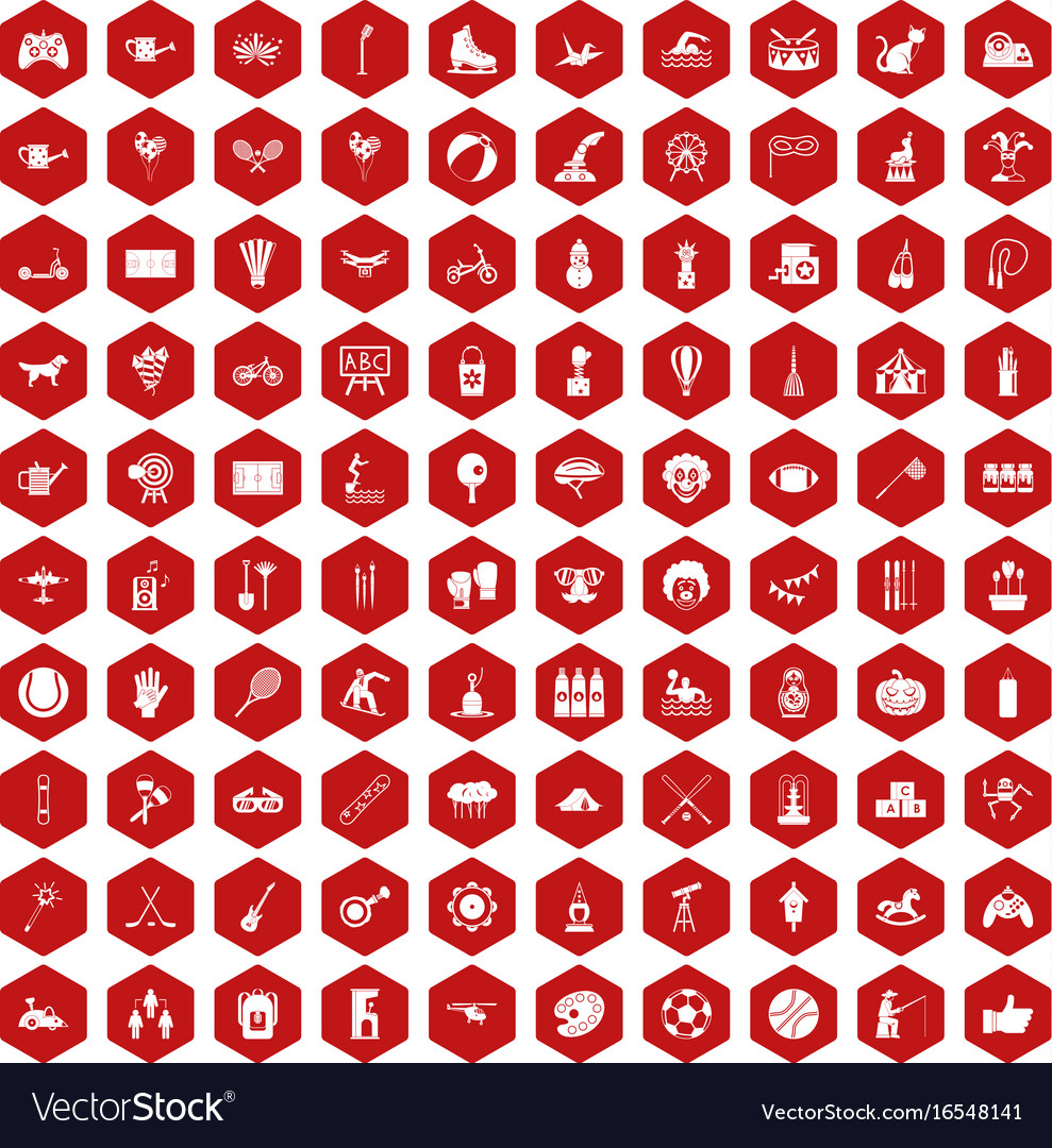 100 kids activity icons hexagon red vector image