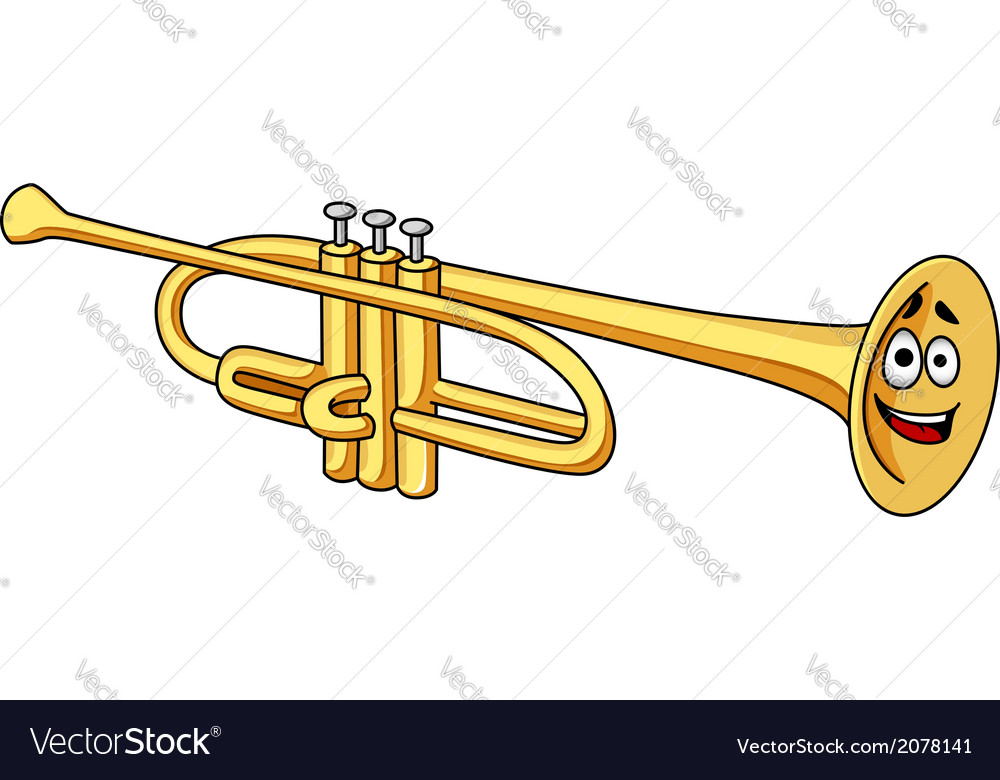 Cartoon brass trumpet vector image