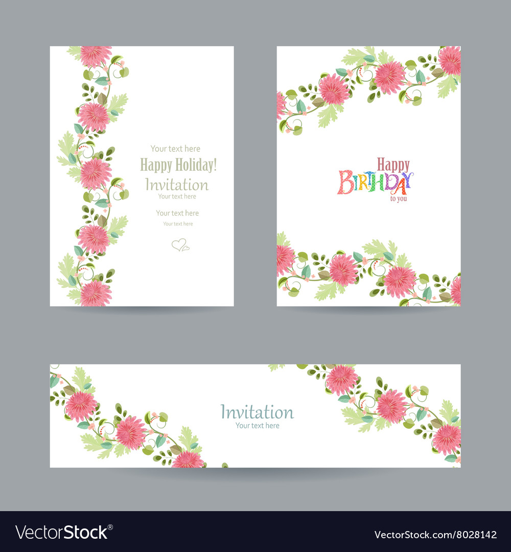Collection invitation cards with chrysanthemums vector image