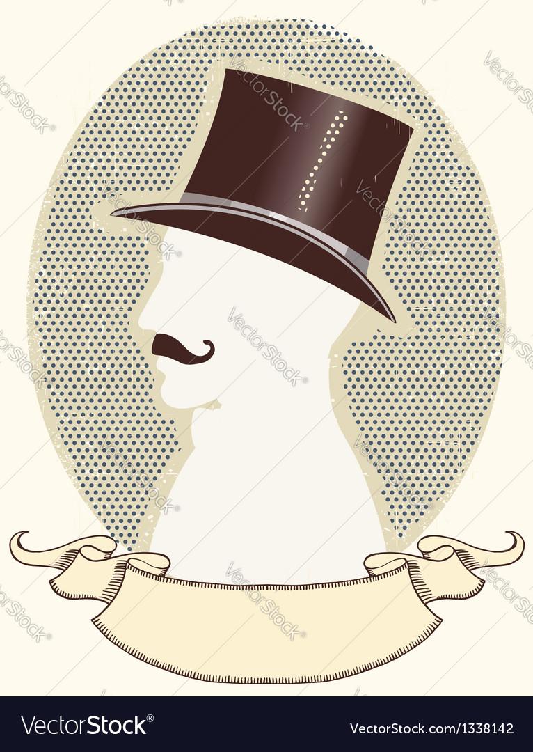 Gentleman in a top black hat and mustache vector image