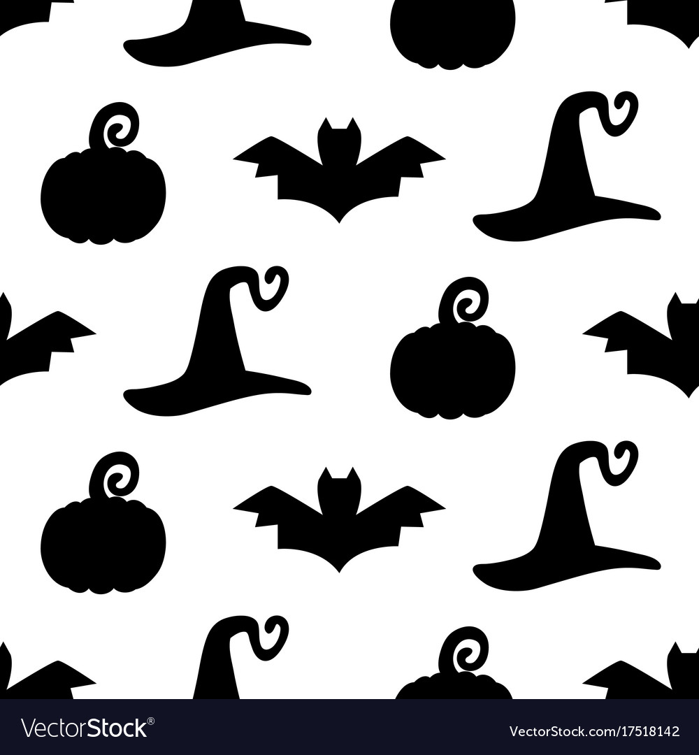 Halloween seamless pattern with silhouettes vector image